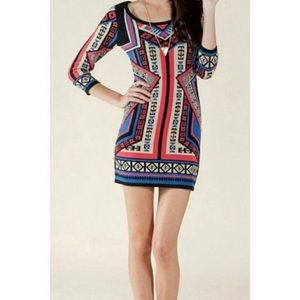 Flying Tomato Aztec Print Sweater Dress XS